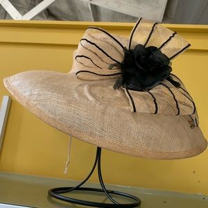 NEW Natural Sinamay Straw HatWith Black Trim